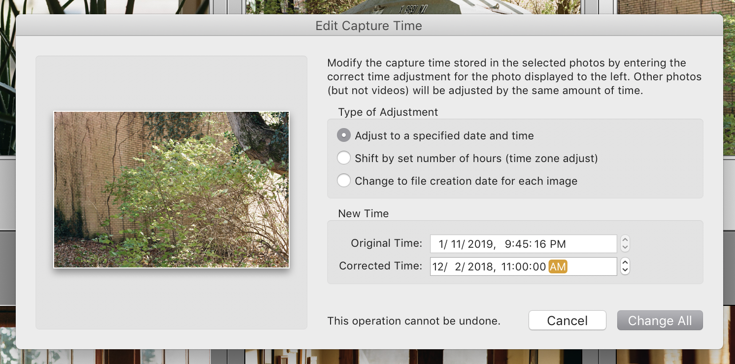 The Edit Capture Time dialog from Lightroom.